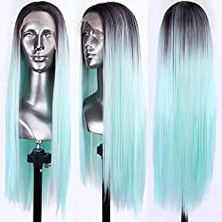 Persephone Glueless L Part Green Lace Front Wigs Ombre with Dark Roots Synthetic Straight Wigs Long with Side Part Ombre Mint Green Lace Wigs for Women 24 Inches
