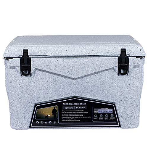 Xspec Pro Roto-Molded 60 Quart High Performance Cooler Outdoor Ice Chest, Granite Print, Durable Stylish Rotomolded with Bottle Openers, Vacuum Release Valve, and Low Profile Snap Tight Latches