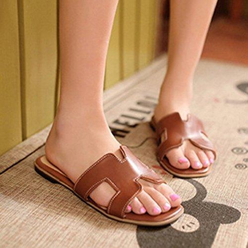 TAOFFEN Mujer Comodo Punta Abierta Sandalias Plano Slide Verano Zapatos Marron