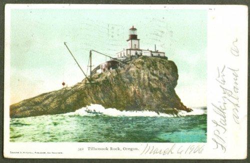 (Tillamook Rock Lighthouse OR undivided back postcard 1906 RPO)