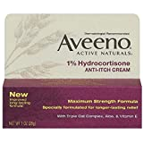 Aveeno 1% Hydrocortisone Anti-Itch Cream, Maximum Strength, 1-Ounce Tubes (Pack of 4)
