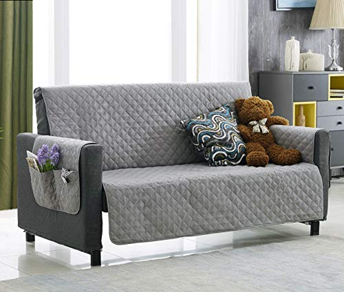 Argstar Light Gray Oversized Couch Cover with Pockets Protector Sofa Slipcover for Dogs