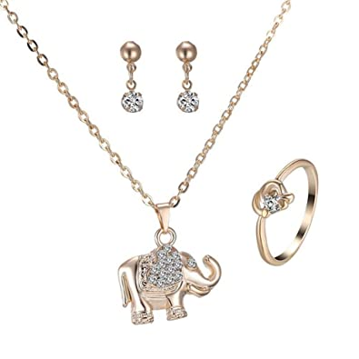 d228a06455bb4 Amazon.com: Wintefei Fashion Elephant Pendant Necklace Stud Earrings ...