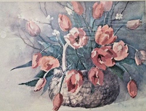 "Dimensions Cross-Stitch Kit #3614""Spring Tulips"" from The 1986 Gallery Collection Measures 16""x12"" Without Mat~ No Counting Necessary Vintage Retired and Discontinued by Manufacturer ~ Made in USA"