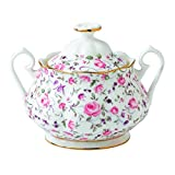 Royal Albert Rose Confetti Formal Vintage Covered Sugar Bowl, White