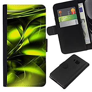 HTC One M7 Modelo colorido cuero carpeta tirón caso cubierta piel Holster Funda protección - Poison Vibrant Metallic Black