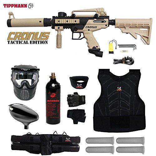 MAddog Tippmann Cronus Tactical Starter Protective CO2 Paintball Gun Package - Black/Tan