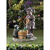 Sweet Little Girl with Animal Friend Outdoor Yard Garden Water Pump Cascading Fountain with Light