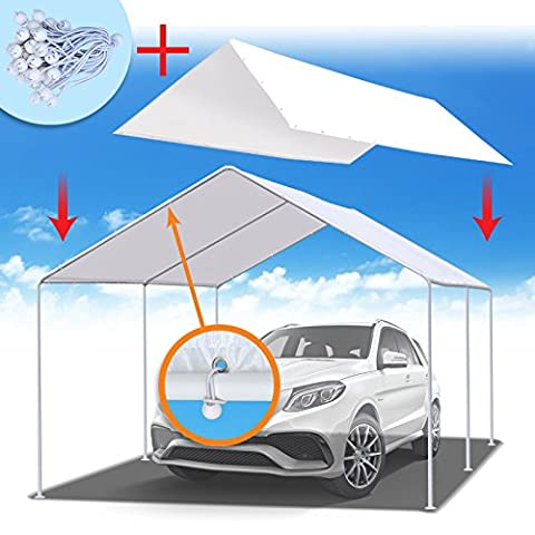 BenefitUSA 10'x20' Carport Replacement Canopy Tent Garage Top Tarp Shelter Cover w Ball Bungees (Without - Party Tent Replacement
