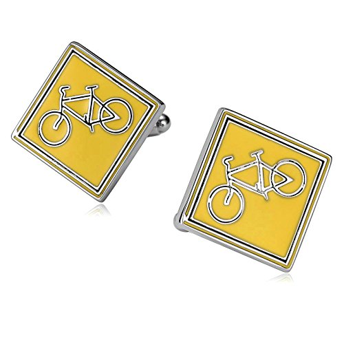 Aooaz Mens Stainless Steel Cufflinks Square with Bicycle Silver Yellow Business Wedding Shirt 2x2cm
