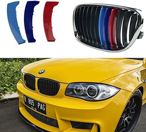 Maite 3D MotorSport Front Grille Trim Strips Grill Cover Decoration Stickers for BMW X5 E53 2004-2007 M-Colored Grille Insert Trims 7 Grilles