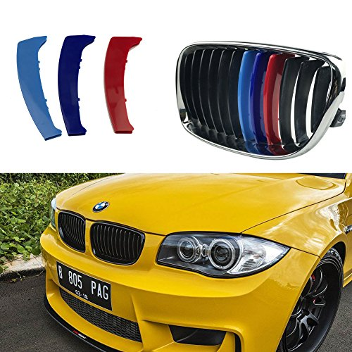 lanyun M-Colored(red Blue Light Blue) Grille Insert Trims for BMW 1 Series 2003-2011 E81 E82 E87 E88 12 Standard Grille Beams Center Kidney Grill Rounded Corners