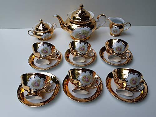 Tea set made in Italy full 24k gold Romeo & Juliet