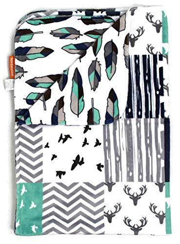 (Dear Baby Gear Deluxe Reversible Baby Blankets, Minky Print Woodland Bear Quilt Feathers Navy Mint, 38 Inches by 29 Inches)