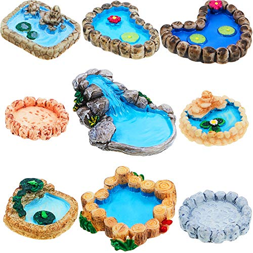 Jetec 9 Pieces Fairy Garden Miniature Pond Ornaments Kit for Fairy Garden Decoration, Miniature Garden Accessories…