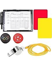 TANCUDER Referee Card Set Sport Referee Kit Rode Kaart Gele Kaart Sport Referee Apparatuur Metalen Fluit met Lanyard Bulk Referee Notebook Voetbal Toss Munt 5 stks Notebooks voor Voetbal Voetbal