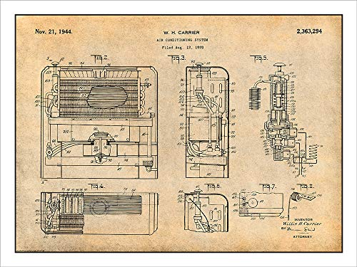 Studio 21 Graphix 1939 Carrier Air Conditioning System Patent Print Art Poster UNFRAMED Parchment 18