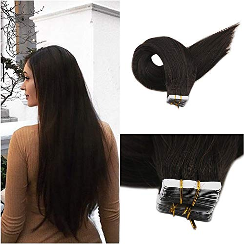 Full Shine Pure Darkest Brown Shor Tape In Hair Extensions 12 Inch Color #2 100% Real Tape Hair Straight Double Side Tape In Remy 30G 20 Pieces 7A Brazilian Hair Glue In Human Hair
