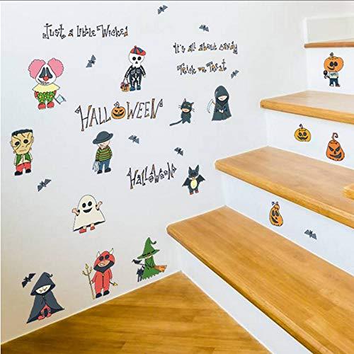 (bb-zonx Halloween Cartoon Small Person Decor Wall Stickers Scary Pumpkin Witch Wizard Ghost Bat Kids Room Kitchen Wardrobe Fridge)
