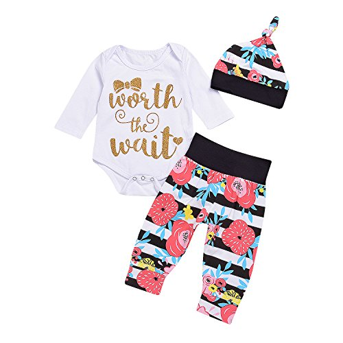 Baby Pullover Pattern - 3Pcs Newborn Baby Girls Boys Long Sleeve Letter Worth The Wait and Bowknot Heart Pattern Printed Romper+Floral Pants+Hats Outfit Set (White, 6-12Months)