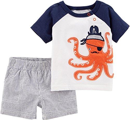 Carter's Boys' Newborn-24M 2 Piece Octopus Tee with Striped Shorts 3 Months