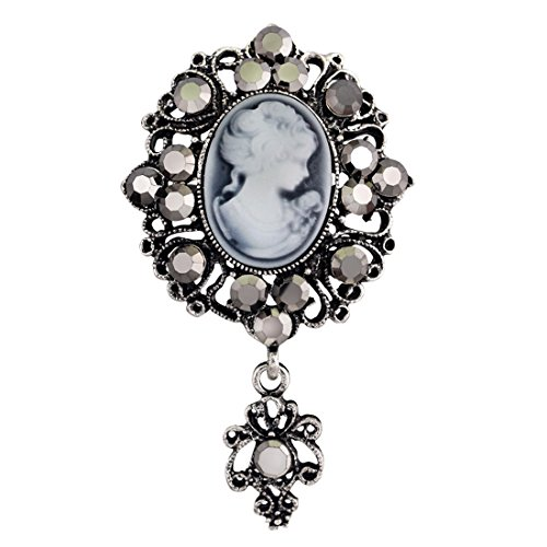 JJTZX Victorian Black Velvet Lace Cameo Choker Gothic Lady Cameo Necklace Gift for Her (Cameo brooch 1)