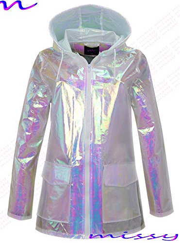 Ladies Iridescent M1427 Waterproof Sizes Iridescent Parka MAC RAIN 8 Festival Womens shell Raincoat 16 6UdwUqF