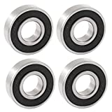 uxcell 6001RS 12mm x 28mm x 8mm Rubber Sealed Deep Groove Ball Bearing 4 Pcs