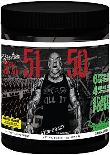 Rich Piana 5% Nutrition 5150 Pre Workout (Green Apple) 13.23OZ (375 Grams) 30 Servings (International Version) by 5% Nutrition