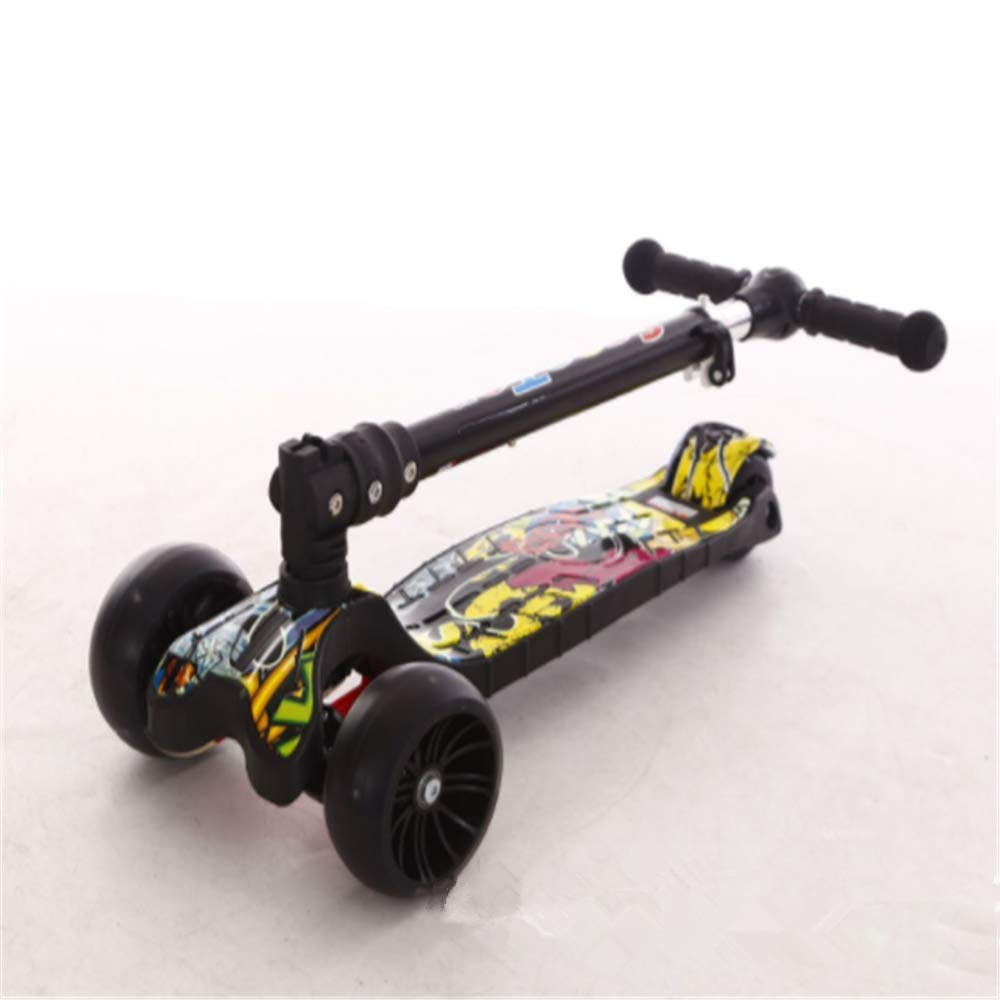 GFTY Scooter Three-Wheel Folding Flash Scooter / Three-Wheel Full Flash / Pedal Light / with Brake / Suitable for Children Aged 3-6 / is The Best Gift for Children