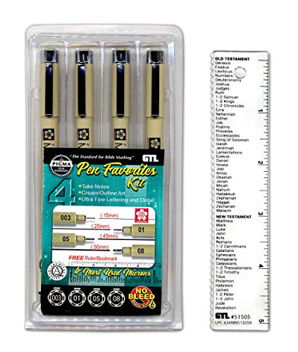 (Pigma Micron Pen Favorites Kit #4 - Set of 4 (003/01/05/08), Black)