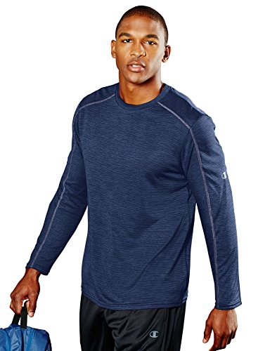 Champion 78715678487 T0064 Mens Heather Stripe Long Sleeve Tee, Navy Heather Stripe - Large