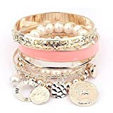 Cinderella Collection By Shining Pink Pearl Coins Element Charm Bracelet For Girls