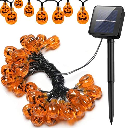 Halloween Solar Powered Pumpkin Lantern Waterproof 20 LED String Lights by OrchidBest Indoor Outdoor Halloween Party Holiday Decoration Lights, 16ft Pumpkin Lights(Warm White) ()
