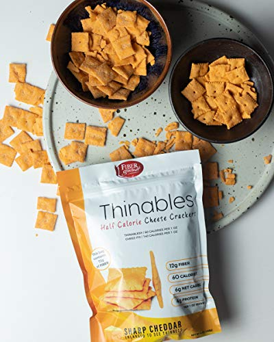 Thinables Baked Cheddar Cheese Crisps: Keto Snacks, Low Carb, High Protein Crackers, Fiber Snacks, Healthy Weight Loss Snacks, Low Calorie, Six (6) 6-ounce packages