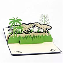 BonusLife 3D Cards Pop Up Birthday Gift Greeting Cards Thank You Card Jurassic Dinosaur