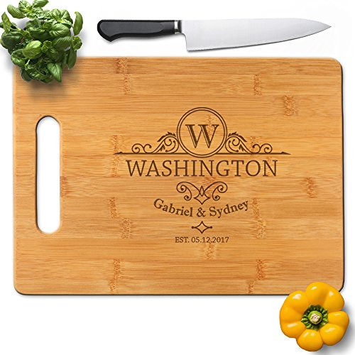 Froolu Classic Bamboo cutting boards for Name Initiails Engraved Housewarming (Classic Bamboo Cutting Board)