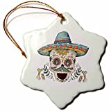 3dRose Sven Herkenrath Celebration - Cinco De Mayo Celebration Party Skull Head Mexican - 3 inch Snowflake Porcelain Ornament (orn_280345_1)