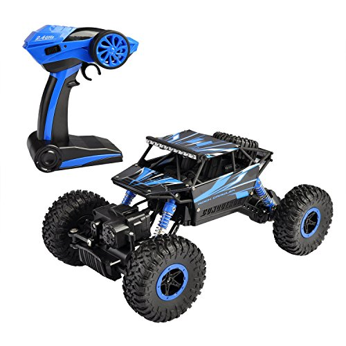 Hapinic RC Car with Two Battery 4WD 2.4Ghz 1/18 Crawlers Off Road Vehicle Toy Remote Control Car Blue Color (Car Toy Control)