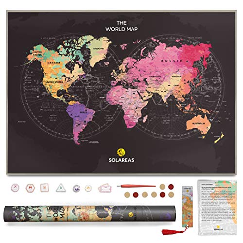 (Solareas Scratch Off Map of The World - 33x23 Travel Tracker Maps Gift for Travelers - Unique Packaging - World Map Scratch Off Poster with Us States - Cool Trip Color Wall Decor Print Presents Ideas)