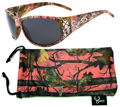 Hornz Pink Camouflage Polarized Sunglasses Country Girl Style Camo & Free Matching Microfiber Pouch – Pink Camo Frame - Smoke - Benefit Sunglasses Polarized