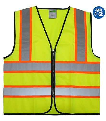 GripGlo Reflective Safety Vest, Bright Neon Color with 2 Inch Reflective Strips - Orange Trim - Zipper Front, Large -