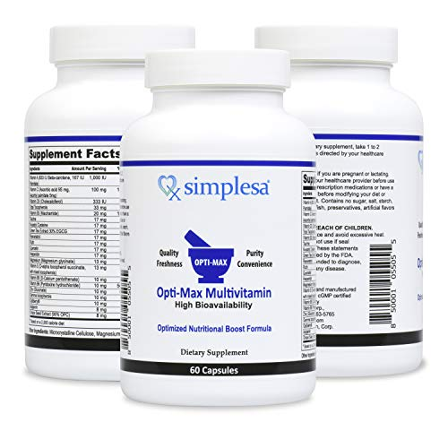 SIMPLESA Nutrition – Opti-Max Multivitamin, Increased Energy, Cognitive, Vision and Anti-Oxidant Support for Optimal Performance, 33 Advanced Nutrients Plus 5 Boosting Blends, Made in USA, Non-GMO