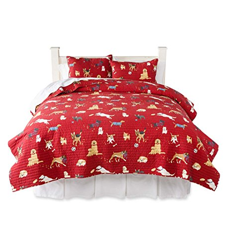- Dog Park Full/Queen Cotton Quilt Bedding Set, 91 L x 88 W x 0.25 H