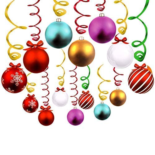 (Cocobee Christmas Decorations Christmas Ball Ceiling Hanging Swirl Decorations Spiral Streamers Sorted Christmas Balls for Home Shopping Mall Christmas Holiday Decoration Xmas)