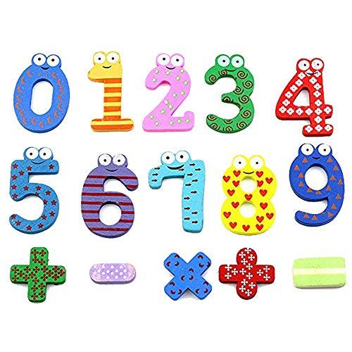 GRACEON Digital Fridge Sticker | Magnetic Wooden Cartoon Sticker | Baby Cognitive Digital Symbol Letter Sticker | Set of 15 -