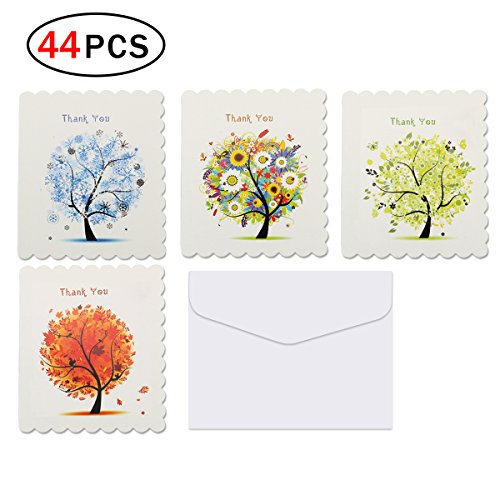 Naisidier 44 Pack Thank You Cards Blank Note Cards Set with White Envelopes for All Occasions - 4 Different Patterns