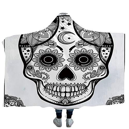 VOUCHERS Baby Hooded Blanket,Sugar Skull Decor,Blankets Made from Our Best Relaxation Sleep Fabric
