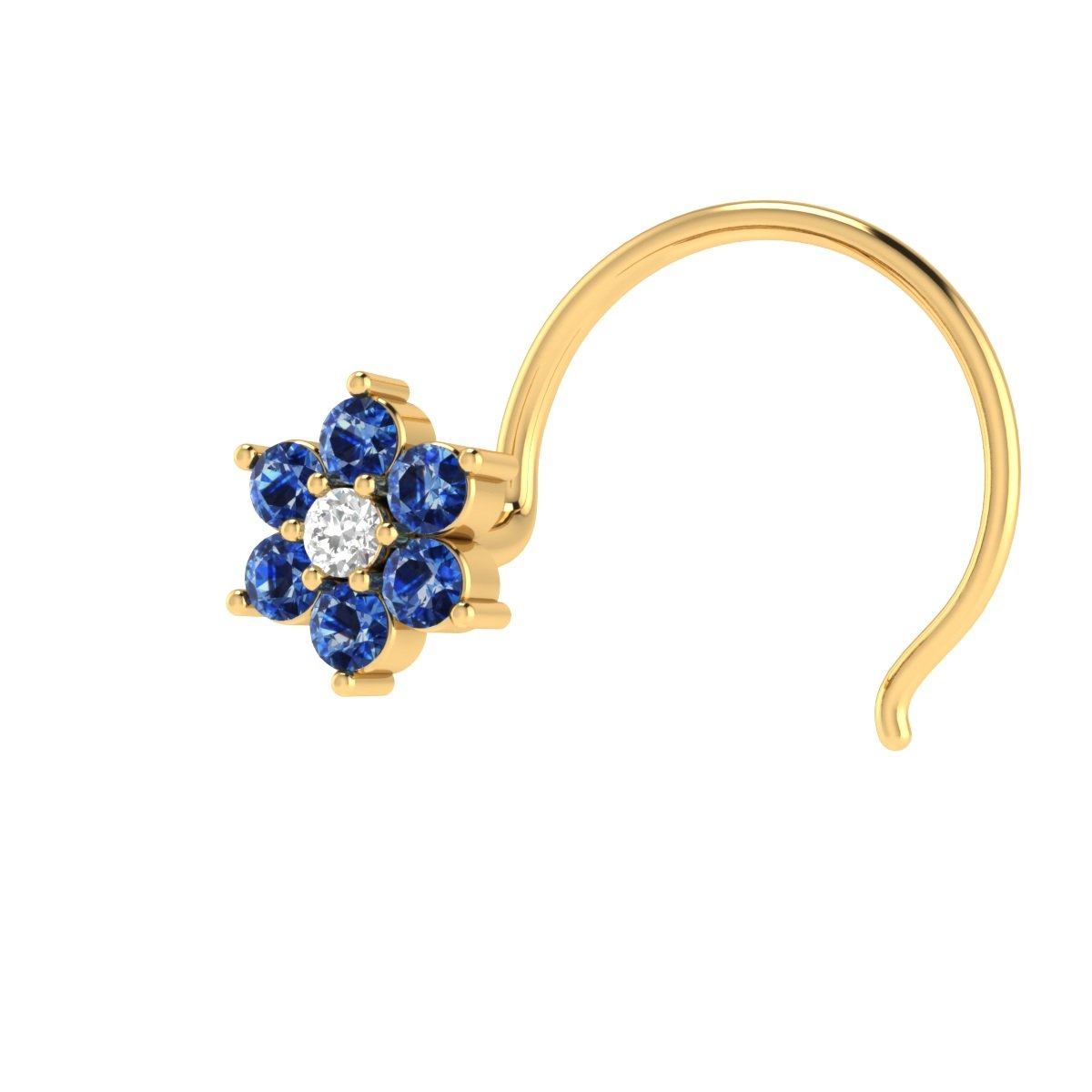 Demira Jewels 14k Yellow Gold Real Blue Sapphire and Diamond Flower Wedding Nose Piercing Ring Stud Pin