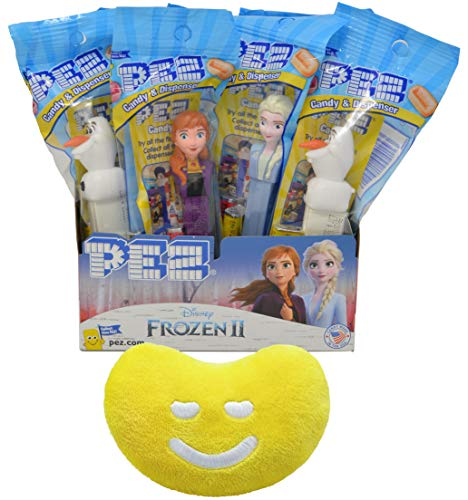 PEZ Frozen 2 Candy Dispenser By The Cup Gift Set (Pack of 12) with Jelly Belly Mini Emoji Plush (Dispenser Cup Frozen)